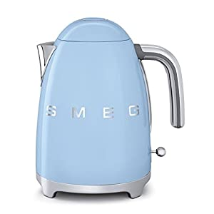 Smeg KLF01PBUS 50's Retro Style Aesthetic Electric Kettle, Pastel Blue 2