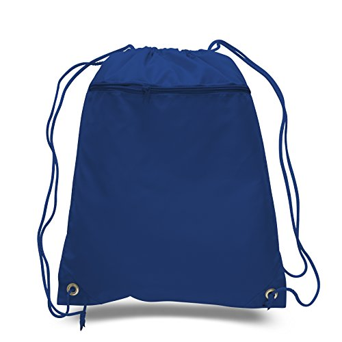(SET OF 144) BagzDepot BULK Polyester Promotional Durable Gym Drawstring Backpacks with Front Zipper Pockets, Cinch Bags, Sack Packs in Bulk (Royal Blue) by BagzDepot