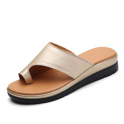 Bunion Sandals for Women Comfy - Bunion Corrector Platform Shoes BSP-2 Genuine Leather Women Flip-Flop Light Weight Ladys Shoes 2019 Size 5 Gold