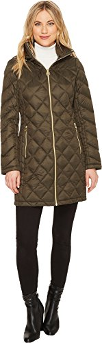 MICHAEL Michael Kors Womens Zip Long Packable M821754CZ Dark Olive LG One Size - Michael Kors Womens Coats