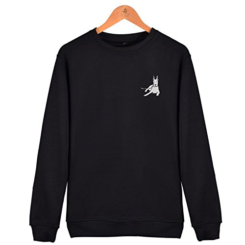 Great Dane Crewneck Sweatshirt (Whaizuh Men's Great Dane Dog Embroidery Cotton Sweatshirt Crewneck Fashion Tops)