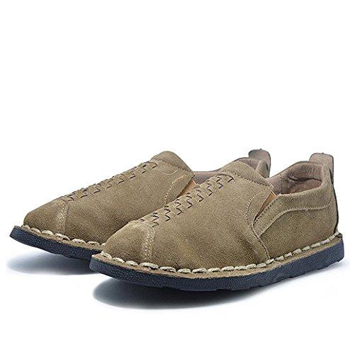 Heart&M ronda de casual retro mens mocasines de zapatos de cuero de gamuza de dedo del pie Khaki