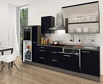 Respekta Premium Kuchenzeile Hochbau 310 Cm Eiche Grau Schwarz Hg