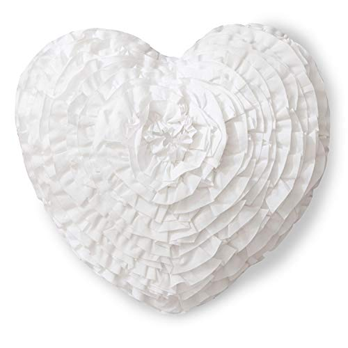 Mother's Day Throw Pillow Hand Crafted Love Heart Shaped Ruffled Floral Decorative Pillow Gifts for Girl Women 17