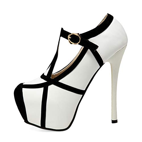 getmorebeauty Women's White Black Stiletto Sexy Shoes High Heels 9 B(M) ()