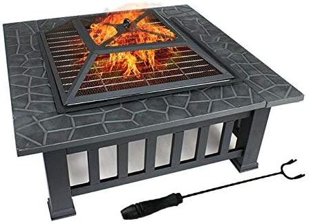 ZENY 32″ Outdoor Fire Pit Square Metal Firepit Backyard Patio Garden Stove Wood Burning Fire Pit W/Rain Cover