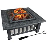 FOBUY Fire Pit with BBQ Grill Shelf,Outdoor Metal Brazier Square Table Firepit Garden Patio Heater/BBQ/Ice Pit with Waterproof Cover (3 in 1Fire Pit Square Table & Grill)