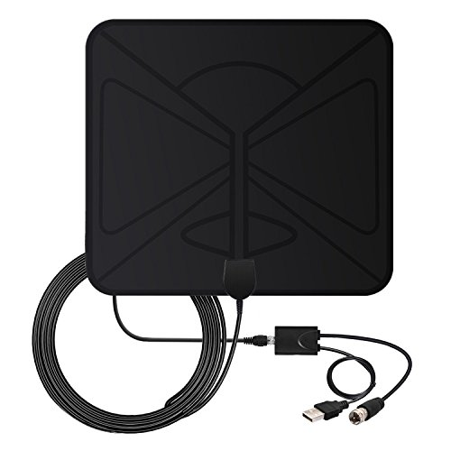 HDTV Antenna, Vinpie Indoor Amplified TV Antenna 50 Mile Range with Creative Adjustable Amplifier Booster, USB Power Supply and Longer 10FT High Performance Coaxial Cable