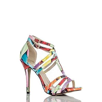 d16255acaa2 Quiz Multi Coloured Balloon Print Loop High Heel Sandals Size 7 EUR 40   Amazon.co.uk  Shoes   Bags