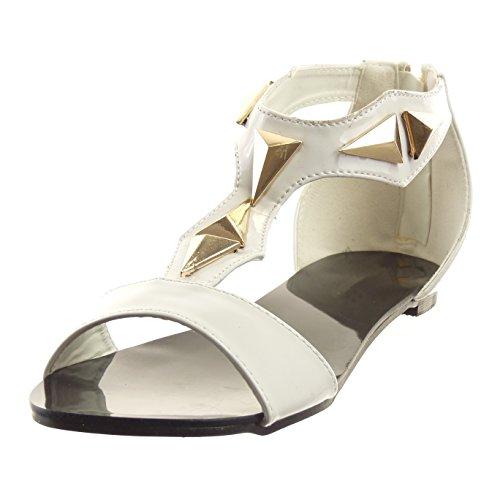 Sopily - Chaussure Mode Sandale Ouverte Salomés hauteur cheville femmes Brillant verni clouté Talon bloc 1 CM - Blanc