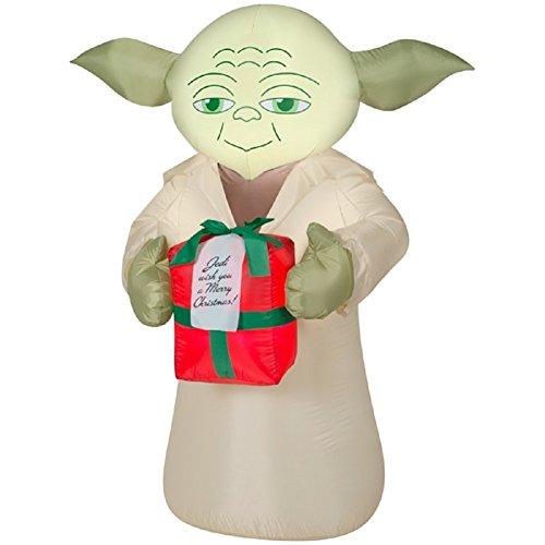 Gemmy Airblown Inflatables Christmas Airblown-star Wars-yoda W / present