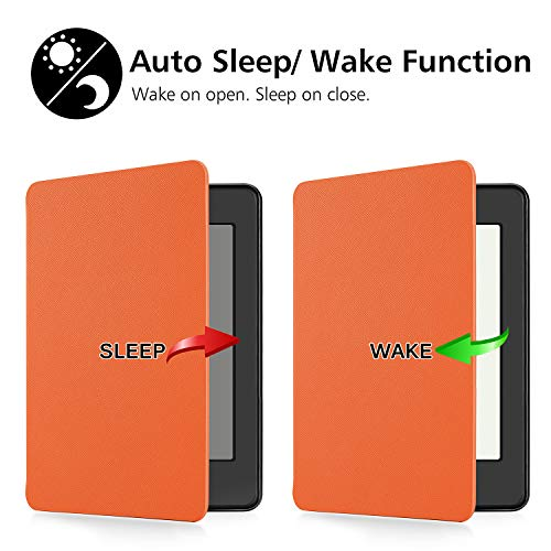 OMOTON Kindle Paperwhite Case (10th Generation-2018), Smart Shell Cover with Auto Sleep Wake Feature for Kindle Paperwhite 10th Gen 2018 Released, Orange