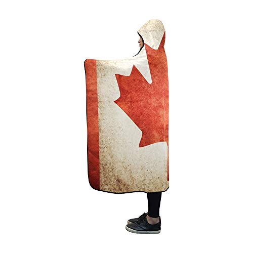 YUMOING Hooded Blanket Grunge Flag Canada Blanket 60x50 Inch Comfotable Hooded Throw Wrap