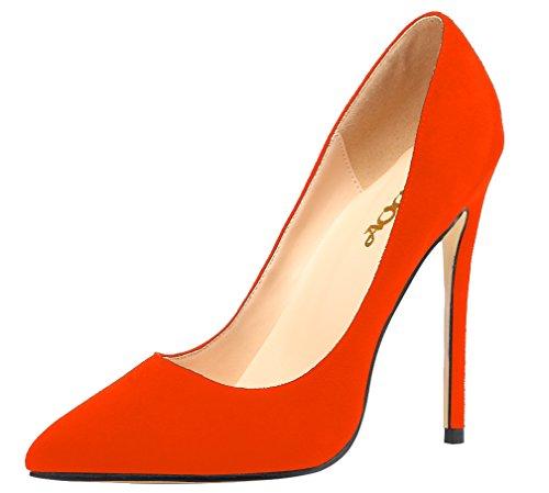 Pelle Solido Arancione Partito In Donne Alto Pompe Tacco Delle Scamosciata Aooar Scarpe 4WzwqC5PxC