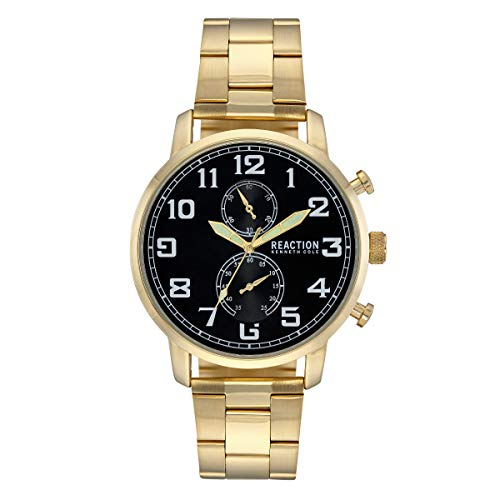 Kenneth Cole Reaction Mens Analog Black Dial, Round Case with a Goldtone Case, Gold Base Metal Bracelet Watch.