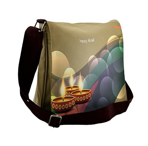 Lunarable Diwali Messenger Bag, Circles and Leaves Waves, Unisex Cross-body by Lunarable