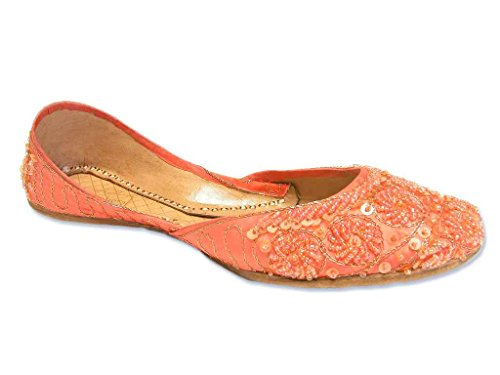 Bright Salmon Peach Beaded Khussa Flats Bollywood Indian Jutti Shoes Size 9