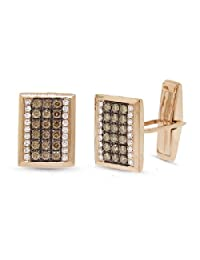 1.13ct 14k Rose Gold White and Champagne Diamond Cuff Links