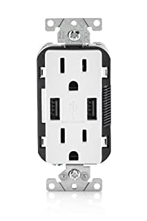 Leviton T5632-W 15-Amp USB Charger/Tamper Resistant Duplex Receptacle, White (B00J3PMU4C) | Amazon Products