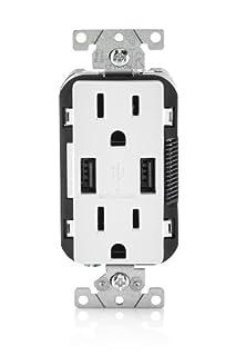 Leviton T5632-W 15-Amp USB Charger/Tamper Resistant Duplex Receptacle, White (B00J3PMU4C) | Amazon price tracker / tracking, Amazon price history charts, Amazon price watches, Amazon price drop alerts
