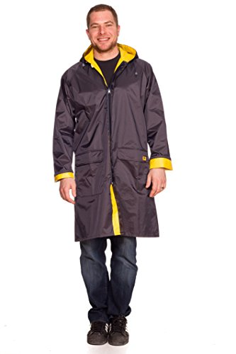 (Rain Slicks Unisex Reversible Rain Coat Jacket Parka (X-Large) Navy)