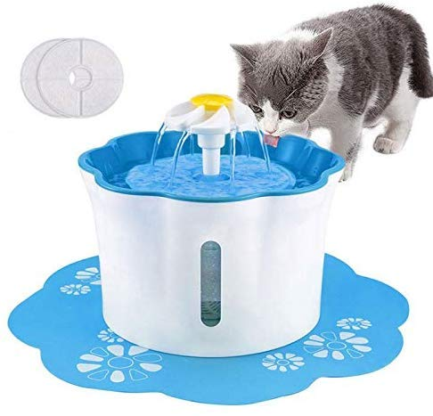 Shinea Cat Water Fountain, 2.6L Automatic Cat Drinking Water Fountain Dog Water Dispenser Pet Fountain with 2 Replacement Filters 1 Silicone Mat for Cats Dogs and Other Animals