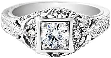 925 Sterling Silver Inlay Antique Ring - Rhodium Plated Art Deco Design Clear CZ Ring