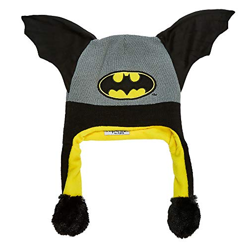 DC Comics Boys' Little' Batman 'Squeez and Flap' Fun Cold Weather Laplander Hat, black/grey/yellow, Age 4-18