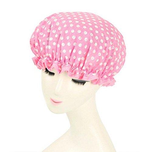 (Shintop Waterproof Shower Cap Adult Resizable Double Layer Environmental Bath Hat Chiffon+EVA Pink Dot (Pink))