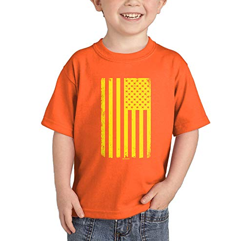 Bar Yellow T-shirt - HAASE UNLIMITED Yellow American Flag T-Shirt (Orange, 2T)