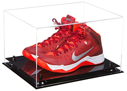 Deluxe Clear Acrylic Basketball Shoe Pair Display Case with Black Risers (A082-BR)