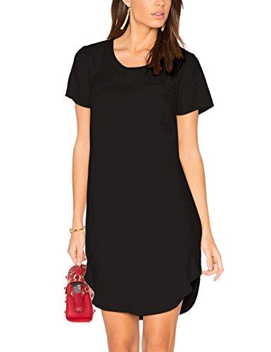 ALLY-MAGIC Women's Tunic Casual Plain Simple Short Sleeve T-Shirt Dress C3721 (XXL, Black)