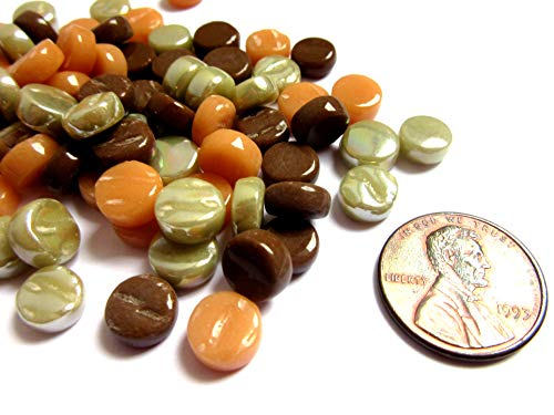 100 Mini Round Brown Green Orange Glass Mosaic Tiles, 8 mm Mosaic Pieces from Shining Eye Arts