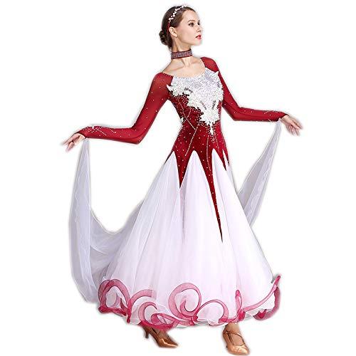 garuda 社交ダンス衣装 豪華ファッションデザイン競技用ドレス 新入荷 5色 B07NJ4Q4MK Medium|レッド レッド Medium