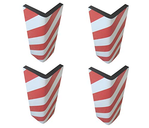 SNS SAFETY LTD FCP4425RWx4 Self-adhesive, Corner Guards, made of Foam Rubber, to Protect Car Parks, dimensions 17.3x9.8x0.8 (44x25x2 cm), with Reflective Strips Red/White. (Pack of 4 pcs)