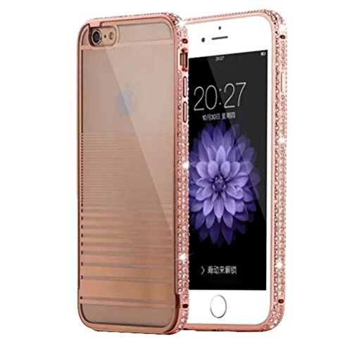 Dreams MallElegant Style Metal with Diamond Case Cover Shell Protection for Apple iPhone 6 Plus 5.5 inch-Rose Gold