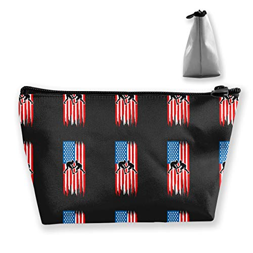 Hand Jinl American Flag Wrestling Portable Trapezoidal Storage Pouch Cosmetic Bag Travel Pouches