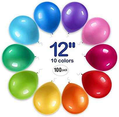 D/&H Craftworks Color Party Balloons 12 inch 50 pcs 10 colors Assorted Colored High Quality Latex Helium Birthday Balloons