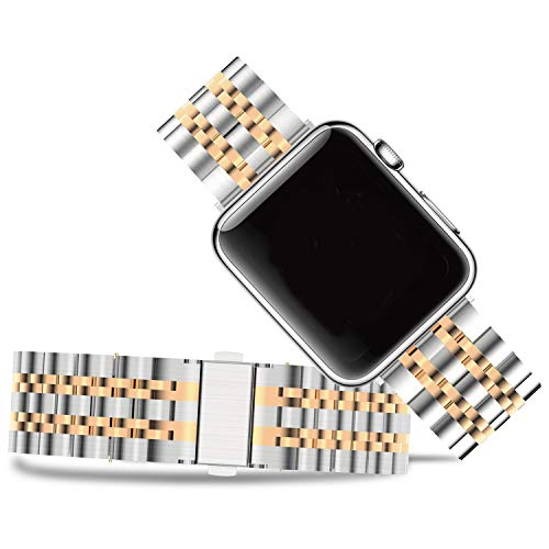 Fullmosa Stainless Steel Bands Compatible with Apple Watch Band Series 5 4 3 2 1 Rose Gold for Women Men Metal Wristband 38mm 40mm 42mm 44mm, Matte Silver+Rose Gold
