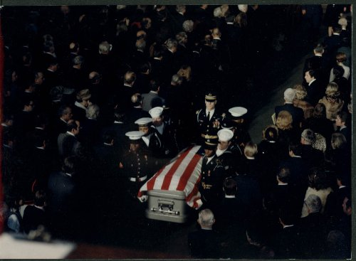 LBJ Funeral color 8x10 #4: Joint services pallbearers carry casket from altar