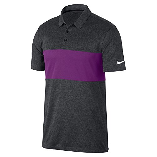 Nike Breathe Color Block Golf Polo 2017 Charcoal Heather/Bold Berry/White X-Large