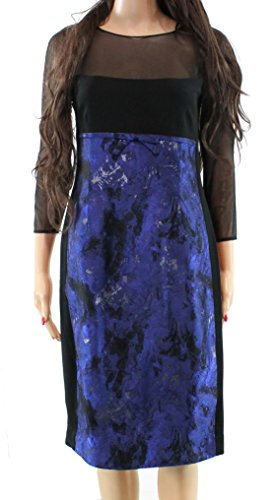 Teri Jon Womens Mesh Yoke Colorblock Sheath Dress Blue 10