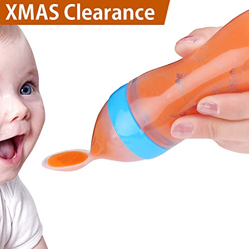 BABY MATE BMT Silicone Baby Food Dispenser Spoon (3oz/90ml, Ideal for 4 Months+ Babies) - Squeeze Spoon Baby Feeding Spoon for Infants - Baby Solid Food Feeder - Squeeze Feeder with Spoon Bottle