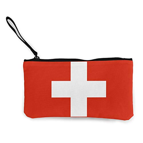 Switzerland Flag Wallet Coin Purse Canvas Zipper Stationery Pouch Bag Work