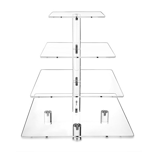 HESIN 4 tier Acrylic Wedding Cake Stand/ Cupcake Stand Tower/ Dessert Stand/ Pastry Serving Platter/ Food Display Stand (4 tier square shape with Base ) (Serving Base)