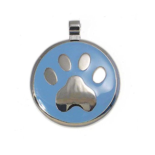 LuckyPet Paw Print Enamel Jewelry Pet ID Tag for Dogs and Cats, Personalized Engraving on The Back Side, Small (1 inch), Light Blue