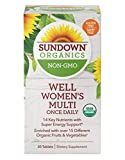Sundown Organics Well Multivitamin for Women, with Vitamin C, D3, and B, Gluten Free, 100% Non-GMO, 30 Tablets