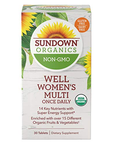- Sundown Organics Well Multivitamin for Women, with Vitamin C, D3, and B, Gluten Free, 100% Non-GMO, 30 Tablets