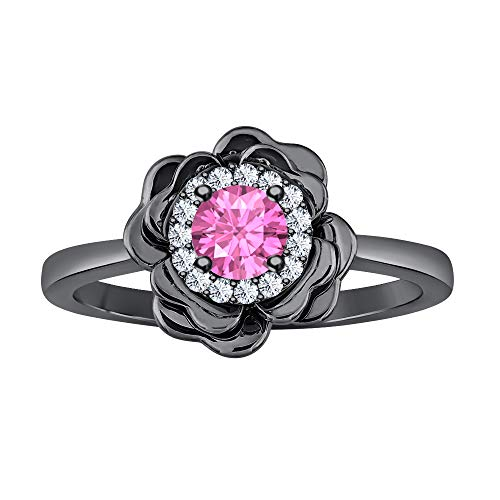 (RUDRAFASHION Beautiful 14K Black Gold Plated White & Pink Sapphire Cluster Fashion Ring for Womens)