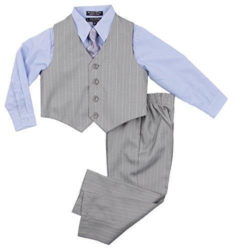 5 Suit Dress Boy (Boys Formal Suit Set - Vest Shirt Pants and Matching Tie Dress Wear Outfit by Caldore (5, Blue-07))